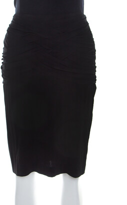 Escada Black Stretch Knit Ruched Braided Detail Edona Skirt M