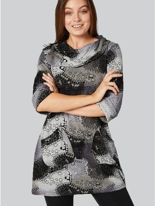 M&Co Izabel polka dot cowl neck tunic top