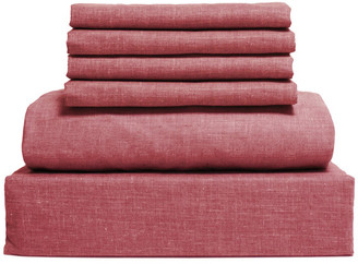Lintex Bedding Chambray Cotton and Polyester Sheet, 6 Piece Set, Red, Queen