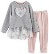 Nannette Toddler Girl Heart Ruffle Top & Leggings Set