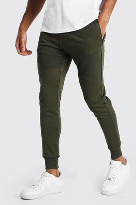 boohoo Mens Green Skinny Fit Panelled Jogger With Side Zips, Green