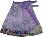 Wevez Printed Reversible Two Layer Wrap Around Plus Size Skirts