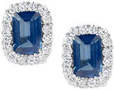 Macy's Sapphire (1-3/8 ct. t.w.) and Diamond (1/3 ct. t.w.) Stud Earrings in 14k White Gold