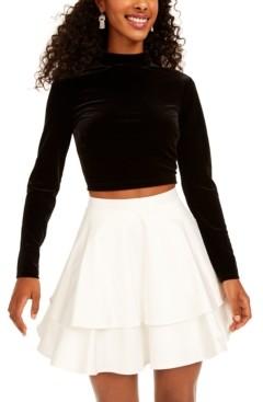 City Studios Juniors' 2-Pc. Velvet Top & Satin Skirt Dress