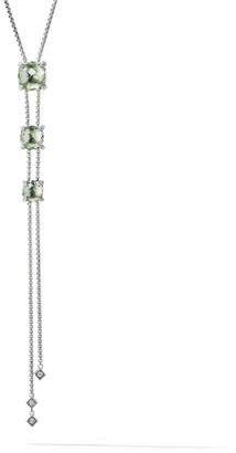 David Yurman Chatelaine Y Necklace with Prasiolite & Diamonds