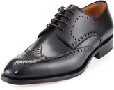 Magnanni Leather Brogue Wing-Tip Oxford, Black