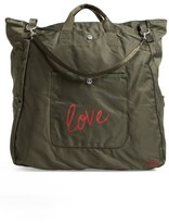 Peace Love World Nylon Tote - Green