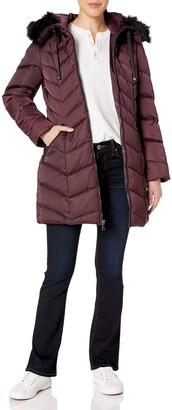 T Tahari Women's Heavy Weight Puffer Coat with Faux Fur Hood