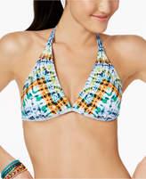 Bar III Tulum Tie-Dyed Reversible Halter Bikini Top, Created for Macy's Women's Swimsuit