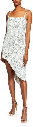 Halpern Sequin Asymmetric Sheath Dress