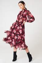 Na Kd Boho High Neck Frill Midi Dress