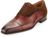 Magnanni Hand-Antiqued Leather & Suede Cap-Toe Oxford, Brown