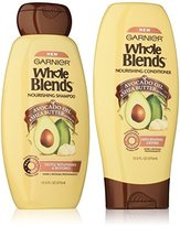 Garnier Whole Blends Haircare - Nourishing Shampoo & Conditioner Set - With Avocado Oil & Shea Butter Extracts - Net Wt. 12.5 FL OZ (370 mL) Per Bottle - One Set