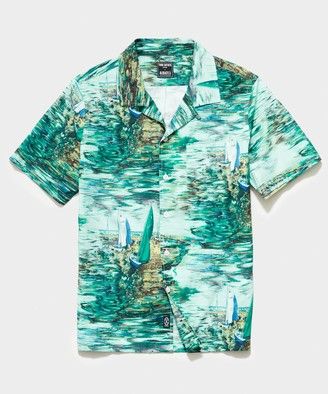 Todd Snyder Italian Camp Collar Short Sleeve Shirt in Watercolor Boat Print