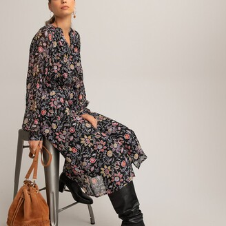 La Redoute Collections Floral Midi Shirt Dress with Tiers