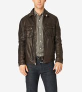 Cole Haan Vintage Leather Shirt Collar Jacket