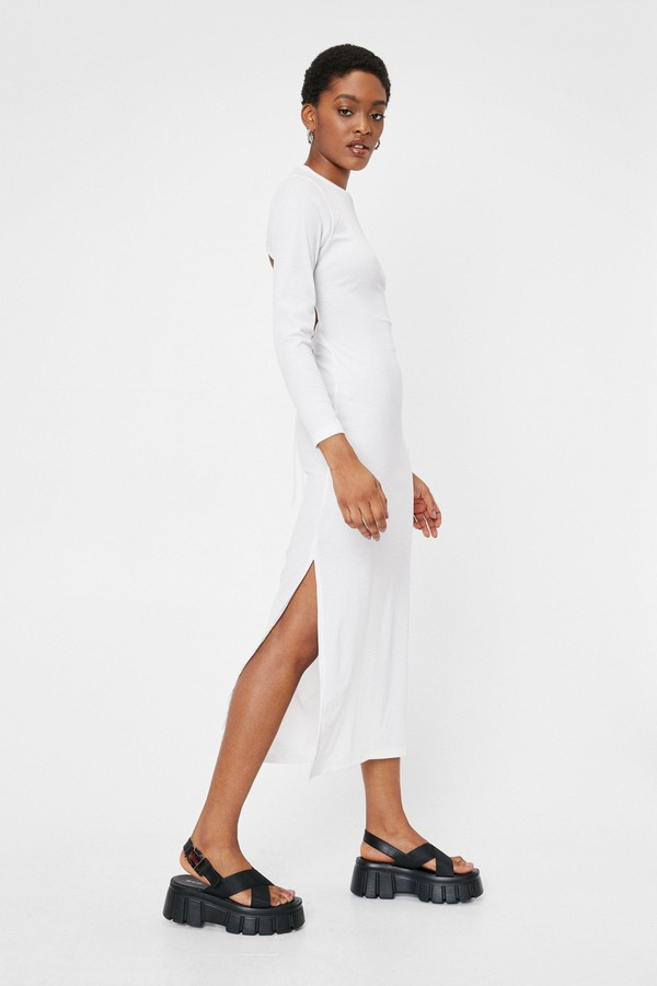 Thumbnail for your product : Nasty Gal Womens Long Sleeve Backless Tie Midi Dress - Tan - 12