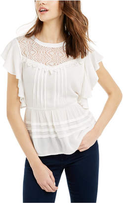 American Rag Juniors' Lace-Trimmed Flutter-Sleeve Top