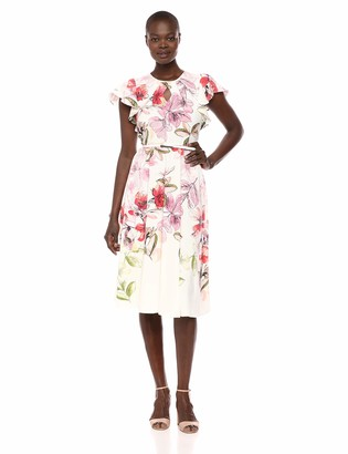 Gabby Skye Women's Ruffled Sleeve Floral Dress