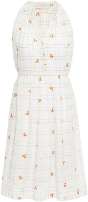 Vanessa Bruno Embroidered Checked Cotton And Lurex-blend Mini Dress