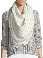 Eileen Fisher Striped Organic Cotton Square Scarf, Bone