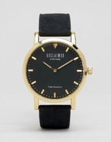 Reclaimed Vintage Inspired Suede Leather Watch In Black