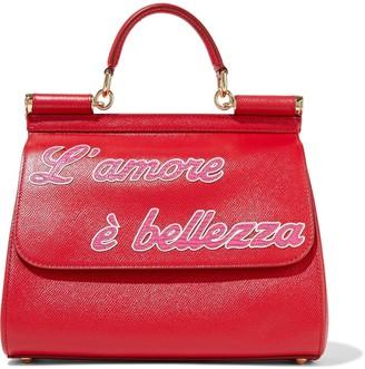 Dolce & Gabbana Sicily Medium Appliqued Textured-leather Shoulder Bag