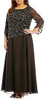 J Kara Plus Geo-Beaded Mock 2-Piece Gown