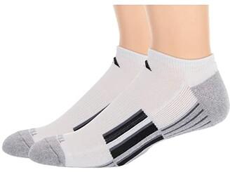 adidas Climalite(r) X II No Show Socks 2-Pack (White/Heather Light Onix/Black/Onix) Men's No Show Socks Shoes