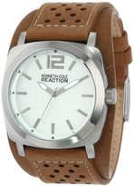Kenneth Cole Reaction Unisex RK1330 Street Silver Case Silver Dial Brown Biker Cuff Strap Watch