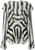 Alberta Ferretti ruffle trim printed blouse