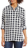 Vince Camuto Two by Point Collar Long Sleeve Gingham Check Relaxed Utility Shirt