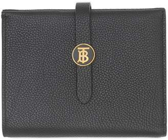 Burberry Leather Monogram Clasp Wallet