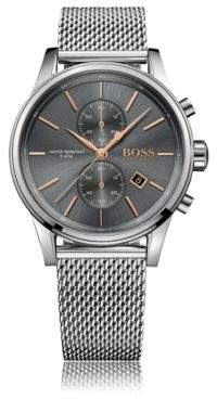 BOSS Polished stainless-steel chronograph watch with grey dial and mesh bracelet