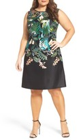 Adrianna Papell Plus Size Women's Laser Cut A-Line Dress