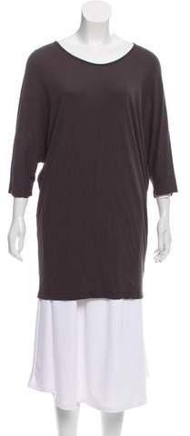 Black Crane Short Sleeve Mini Dress