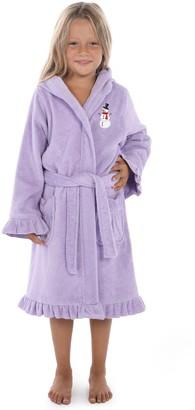 Linum Home Textiles Kids Hooded Ruffle Bathrobe w/ Embroidered Snowman
