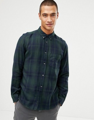 French Connection Large Over Check Shirt-Green