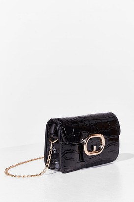 Nasty Gal Womens WANT Croc On Faux Leather Crossbody Bag - Black - One Size
