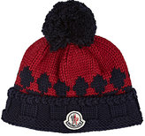 Moncler Men's Fair Isle Ribbed Virgin Wool Beanie-NAVY