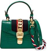 Gucci Sylvie Mini Chain-embellished Alligator Shoulder Bag - Emerald