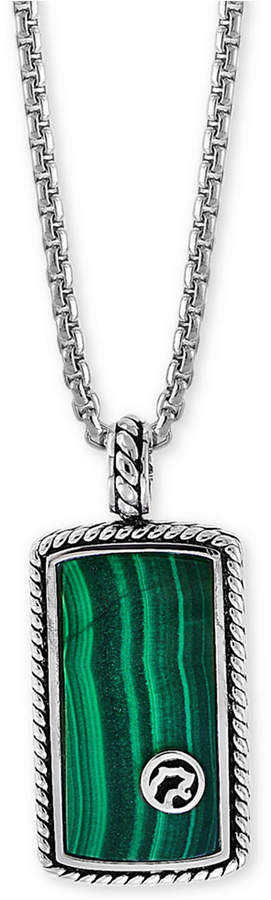 "Effy Men's Malachite Dog Tag 22"" Pendant Necklace in Sterling Silver"