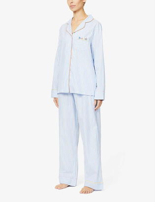 Chinti and Parker Classic stripe cotton-poplin pyjama set
