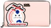 Karl Lagerfeld Choupette patch zipped wallet