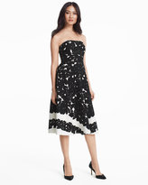 White House Black Market Strapless Floral Printed Fit-and-Flare Dress