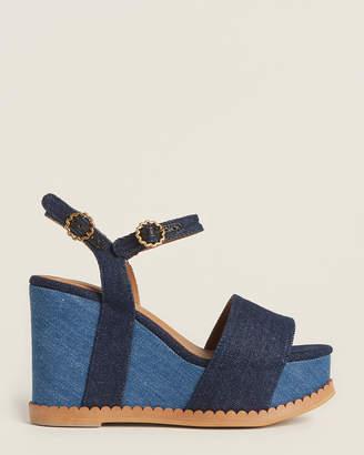 See by Chloe Blue Denim Platform Wedge Sandals