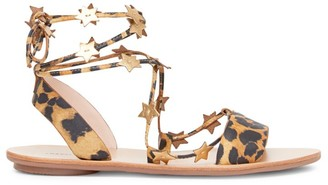 Loeffler Randall Starla Ankle-Wrap Leopard-Print Leather Sandals