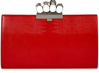 Alexander McQueen Red lizard-effect leather clutch