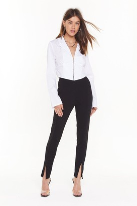 Nasty Gal Womens High-Waisted Fitted Pants with Slits at Hem - Black