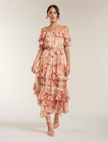 Forever New Becca Bardot Ruffle Maxi Dress - Coral Sunrise Floral - 10